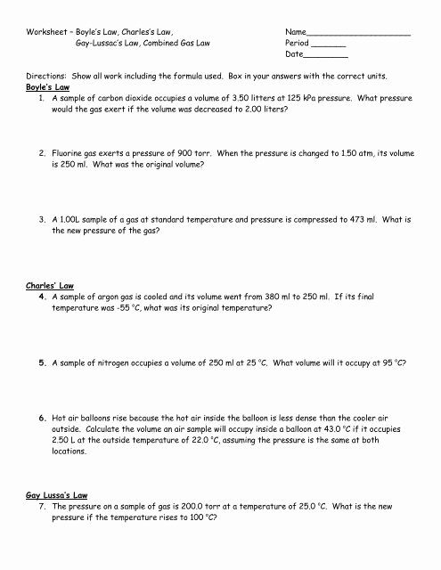 "Charles Law Worksheet Answers Awesome Worksheet ¢€"" Boyle S Law Charles S Law"