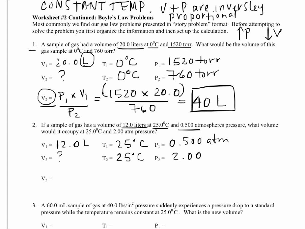 Charles Law Worksheet Answers Best Of Boyle S Law and Charles Law Worksheet Answer Key