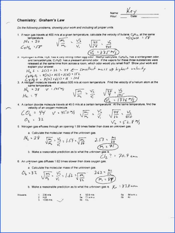 Charles Law Worksheet Answers Elegant Charles Law Worksheet Answers Siteraven