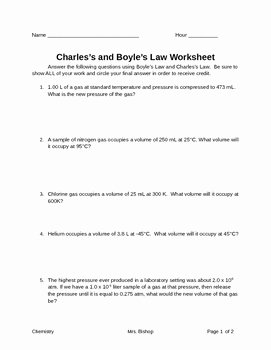 Charles Law Worksheet Answers Inspirational Charles Boyle S Law Worksheet by Leah S Chemistry Corner