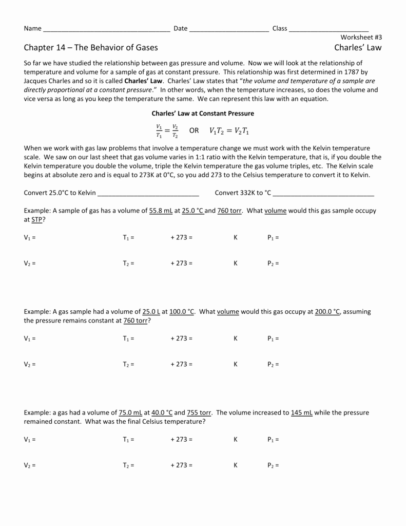 Charles Law Worksheet Answers Lovely Behavior Gases Worksheet Answers Chapter 11