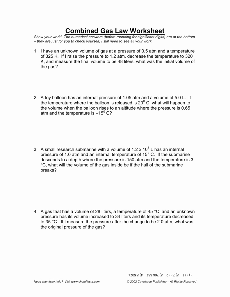 Charles Law Worksheet Answers Lovely Bined Gas Law Worksheet