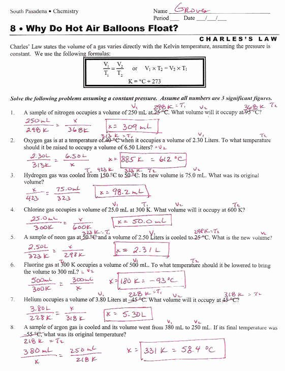 Charles Law Worksheet Answers Luxury Ideal Gas Law Problems Worksheet