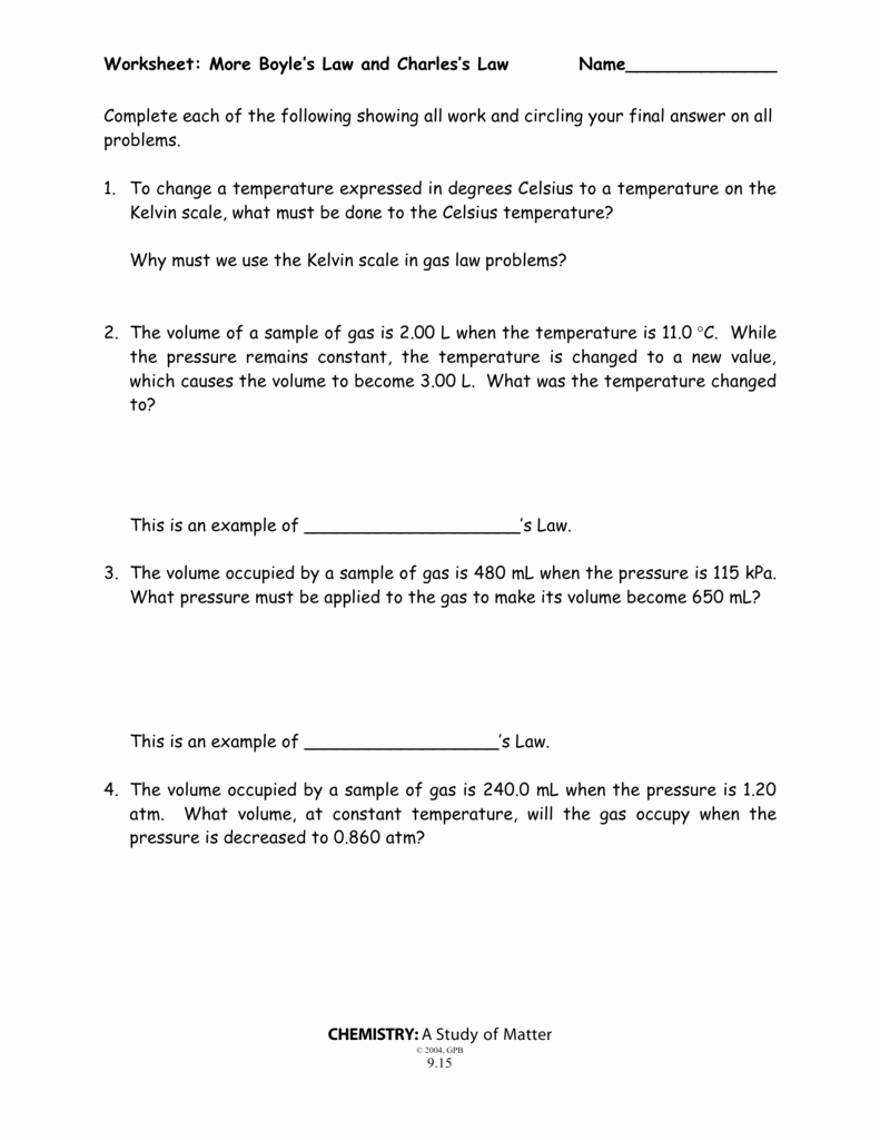 Charles Law Worksheet Answers New Boyle S Law and Charles Law Worksheet