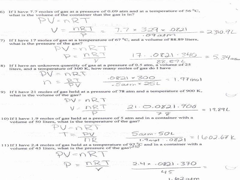 Charles Law Worksheet Answers New Mixed Gas Laws Worksheet