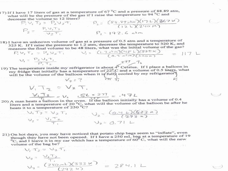 bined gas law worksheet answers