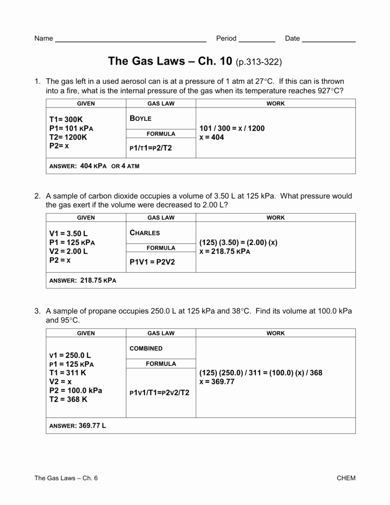 Charles Law Worksheet Answers Unique Gas Laws Worksheet Churchillcollegebiblio