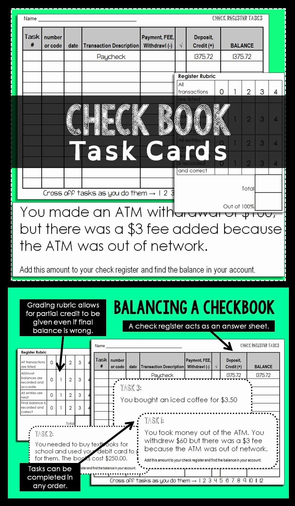 Checkbook Register Worksheet 1 Answers Elegant Checkbook Task Cards Activity Task Cards