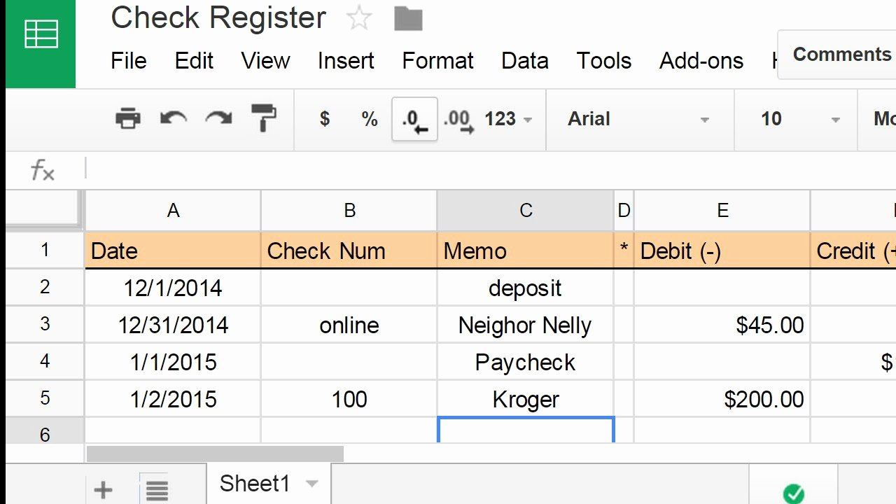 Checkbook Register Worksheet 1 Answers New Create A Check Register Using A Spreadsheet