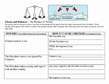 Checks and Balances Worksheet Answers Awesome Us Government Checks and Balances Worksheet by Patricia