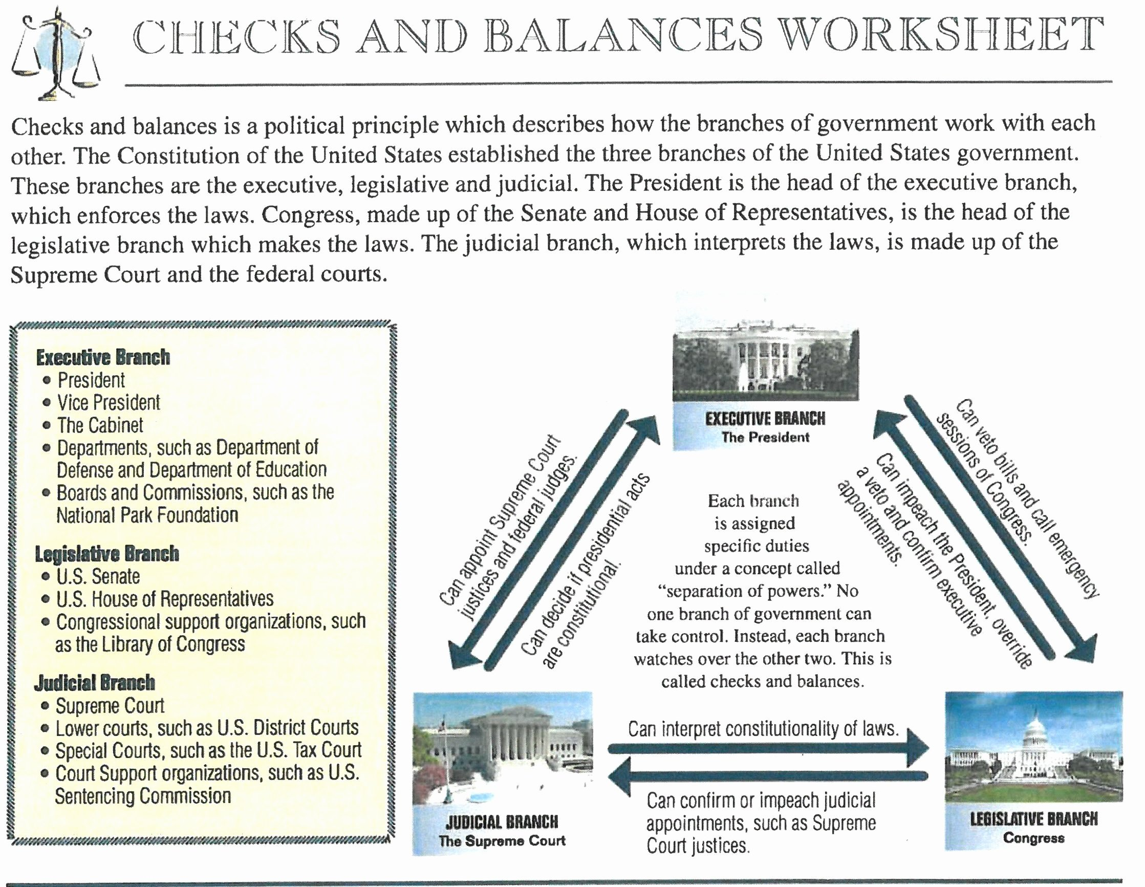 Checks and Balances Worksheet Answers Beautiful Checks and Balances Worksheet Funresearcher