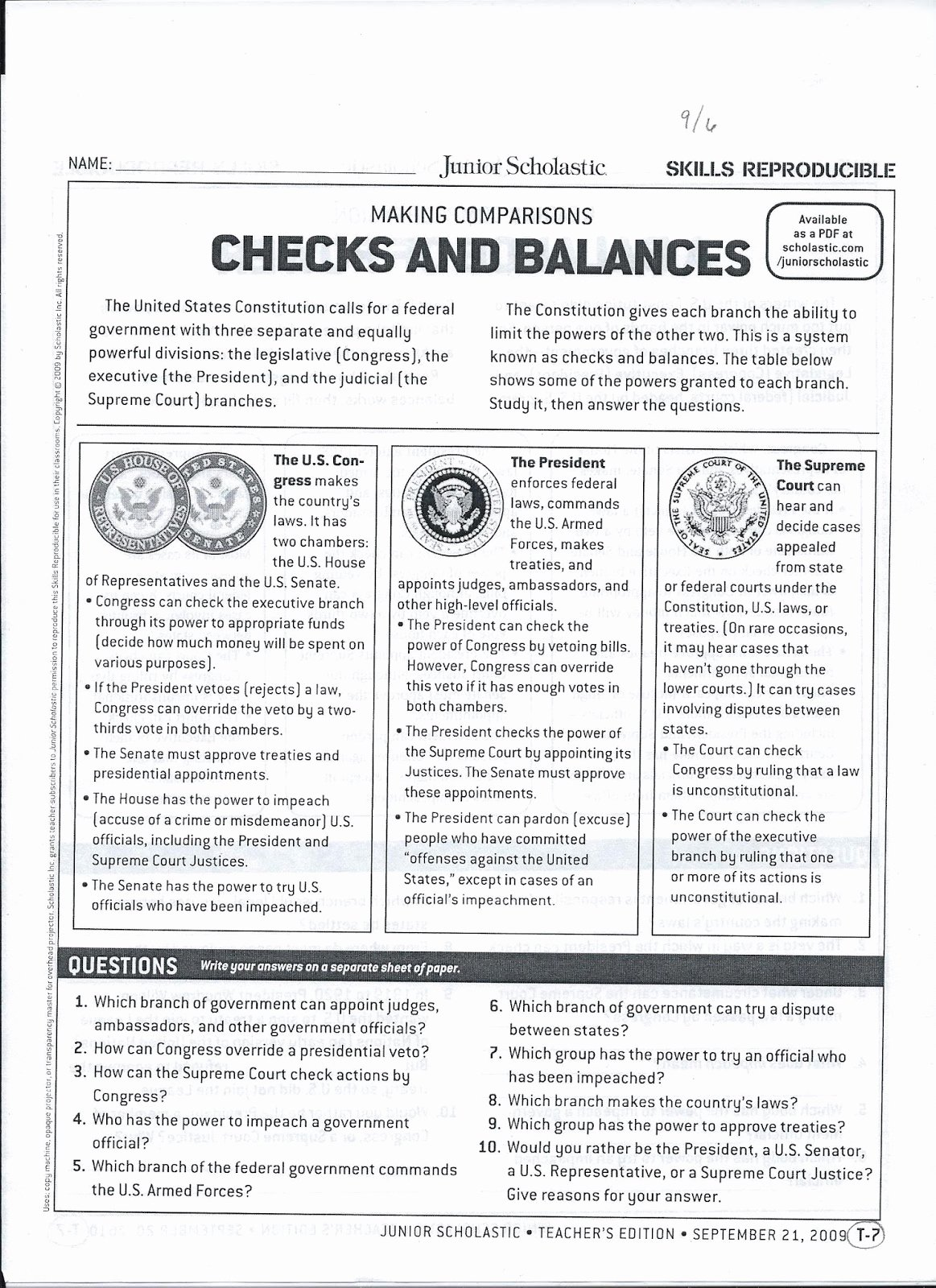 Checks and Balances Worksheet Answers Fresh Gms 6th Grade social Stu S Checks and Balances