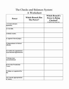 Checks and Balances Worksheet Answers Luxury the Checks and Balances System A Worksheet 6th 10th