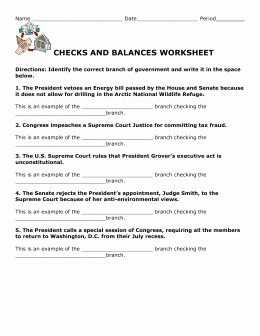 Checks and Balances Worksheet Answers New Checks and Balances Worksheet