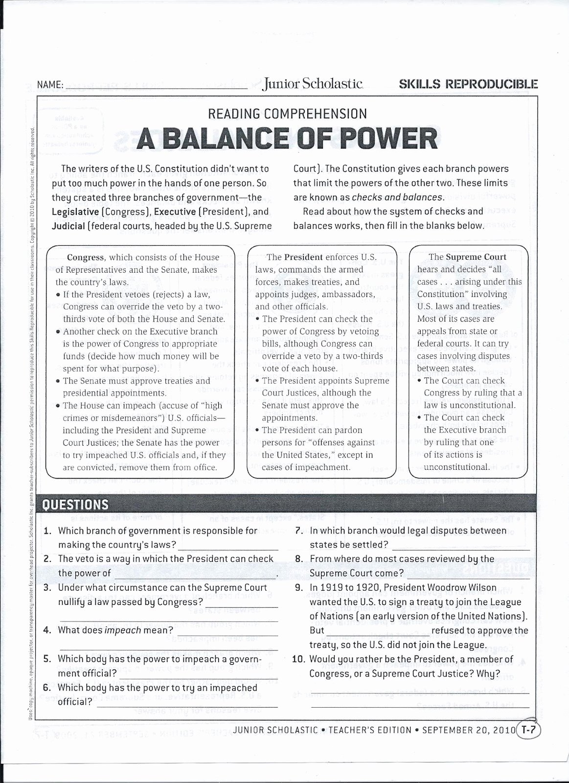 Checks and Balances Worksheet Answers New Gms 6th Grade social Stu S Checks and Balances