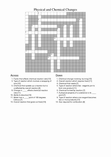 Chemical and Physical Change Worksheet Awesome Physical and Chemical Changes Crossword Worksheet for 8th
