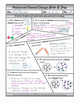 Chemical and Physical Change Worksheet Awesome Physical and Chemical Changes Write and Draw Worksheet by