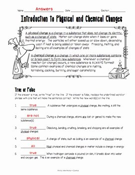 Chemical and Physical Change Worksheet Beautiful Introduction to Physical and Chemical Changes Worksheet