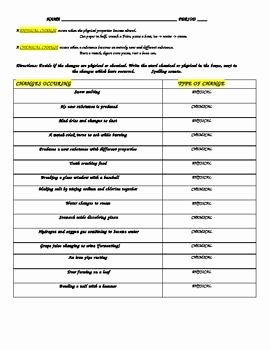 Chemical and Physical Change Worksheet Beautiful Physical Chemical Change Work Sheet with Answers