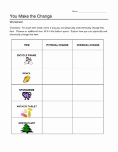 Chemical and Physical Change Worksheet Best Of Identify Chemical and Physical Changes Worksheet