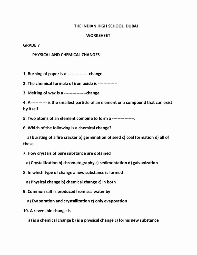Chemical and Physical Change Worksheet Lovely Physical and Chemical Changes Pdf