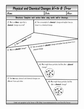 Chemical and Physical Change Worksheet Luxury Physical and Chemical Changes Write and Draw Worksheet by