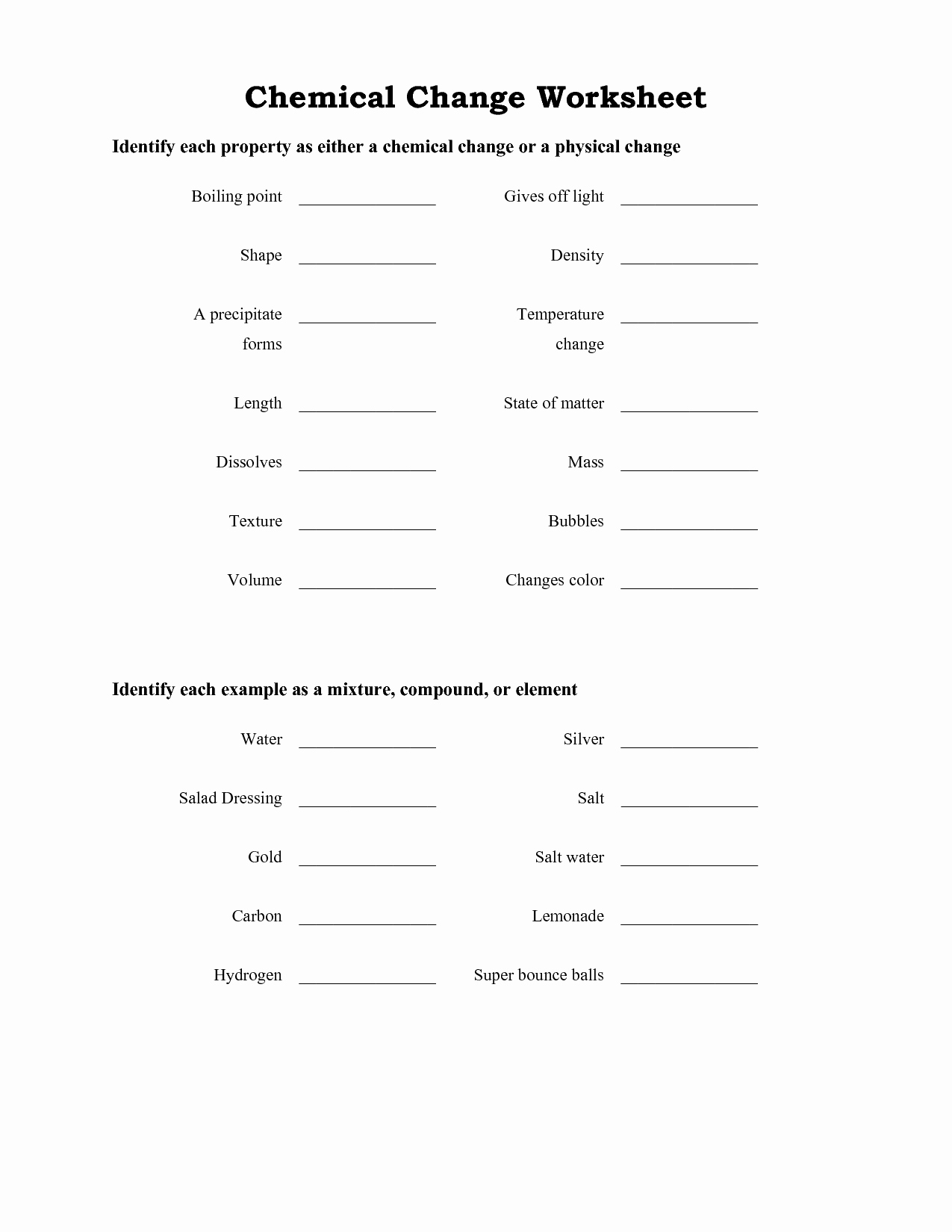 Chemical and Physical Changes Worksheet Awesome 14 Best Of Physical Changes Matter Worksheets