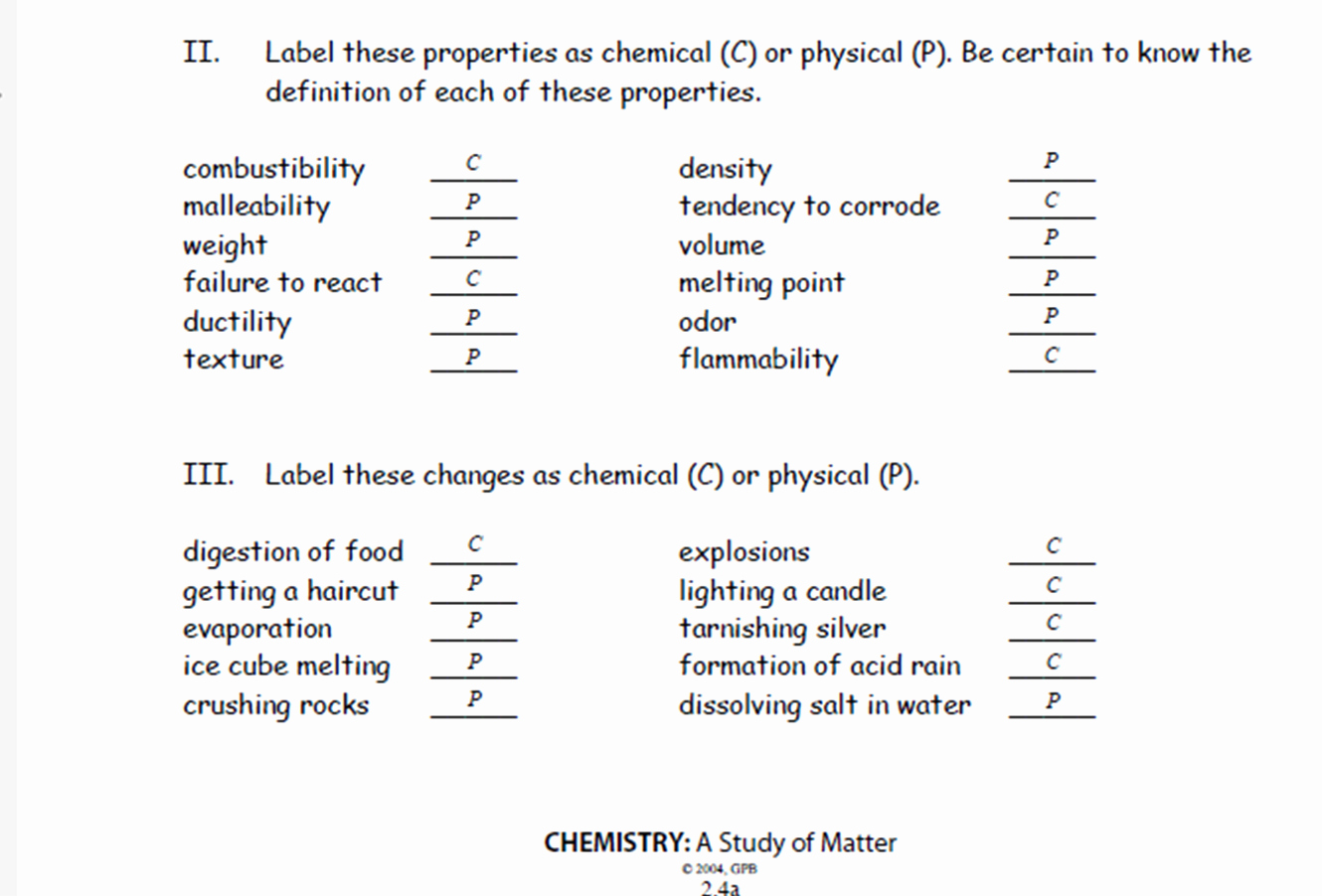 Chemical and Physical Changes Worksheet Inspirational Ms Clark S Physical Science Blog Answer Key Physical