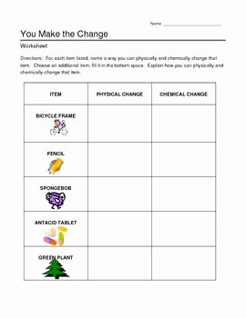 Chemical and Physical Changes Worksheet New Chemical and Physical Changes Worksheet by Jjms