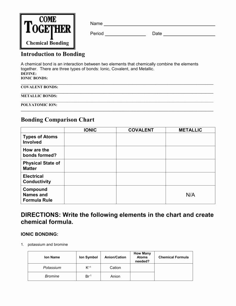Chemical Bonding Worksheet Answer Key Best Of Chemical Bonding Worksheet Answer Key