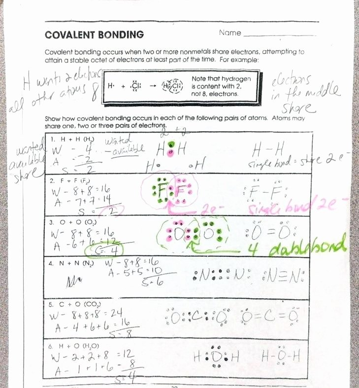 Chemical Bonding Worksheet Answer Key Lovely Chemical Bonding Worksheets Answer Key