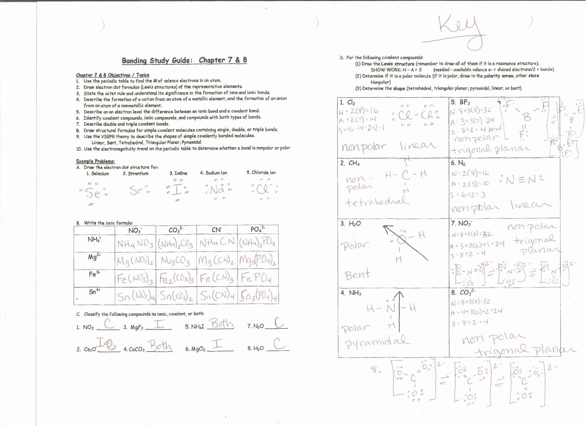Chemical Bonding Worksheet Answer Key New Chemistry Unit 6 Worksheet 1 Answer Key