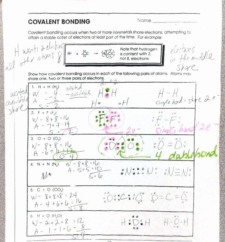 Chemical Bonding Worksheet Key Awesome Chemical Bonding Worksheets Answer Key