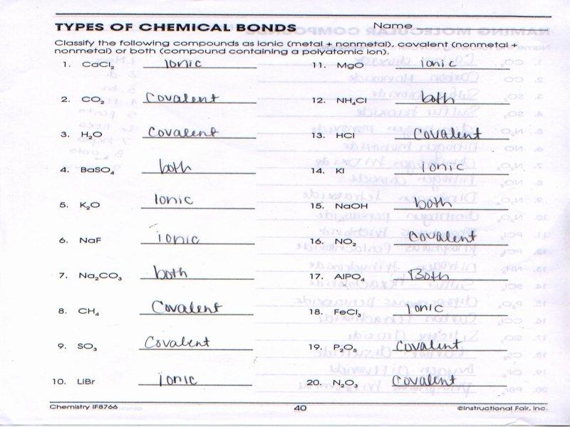 Chemical Bonding Worksheet Key Beautiful Types Chemical Bonds Worksheet Answer Key Free
