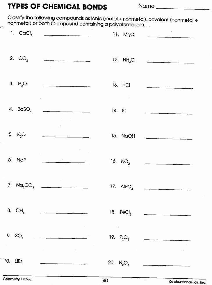 Chemical Bonding Worksheet Key Unique Types Chemical Bonds Worksheet