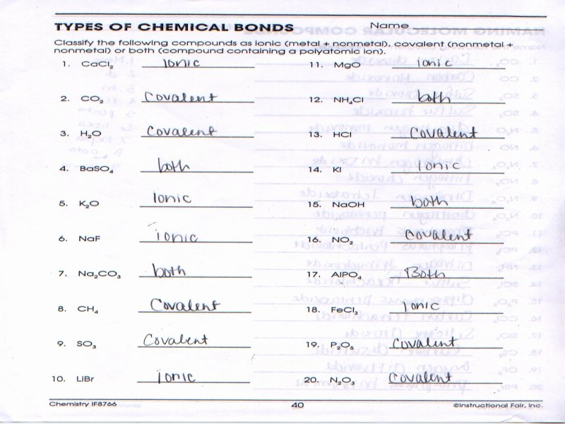 Chemical Bonds Ionic Bonds Worksheet Inspirational Types Chemical Bonds Worksheet Answer Key Free
