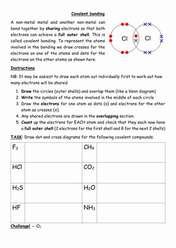 Chemical Bonds Ionic Bonds Worksheet New Drawing Dot and Cross Covalent Bonding Diagramscx