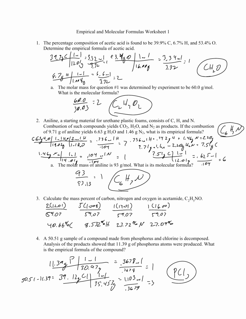Chemical formula Worksheet Answers Elegant Empirical and Molecular formulas Worksheet 1 1 the Percentage