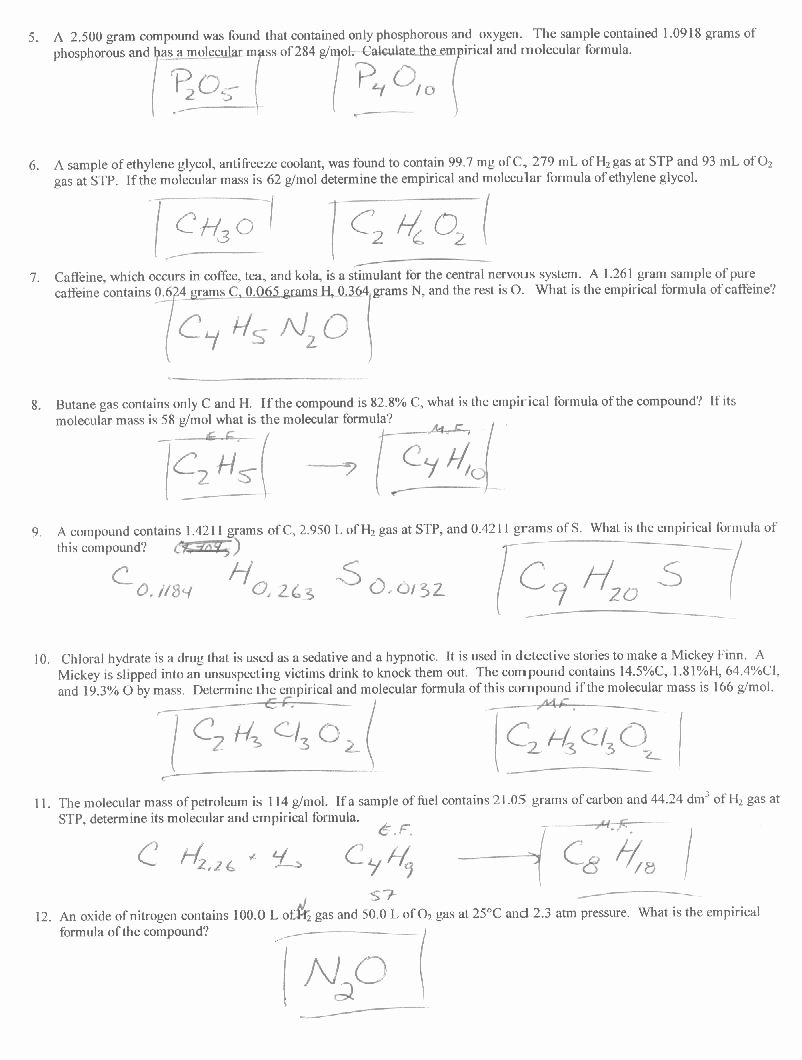 Chemical formula Worksheet Answers Inspirational 47 Percent Position and Molecular formula Worksheet