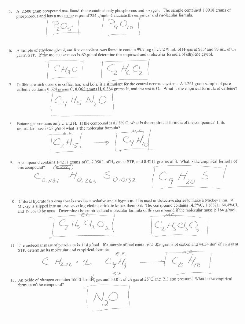 Chemical formula Worksheet Answers Inspirational 47 Percent Position and Molecular formula Worksheet