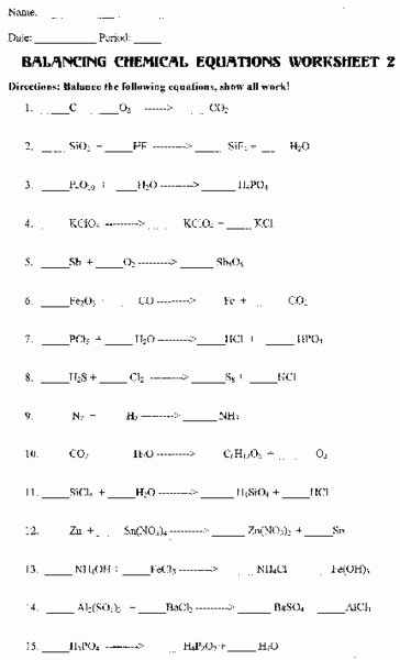 Chemical formula Worksheet Answers Inspirational Balancing Chemical Equations Worksheet 2 Answers the Best