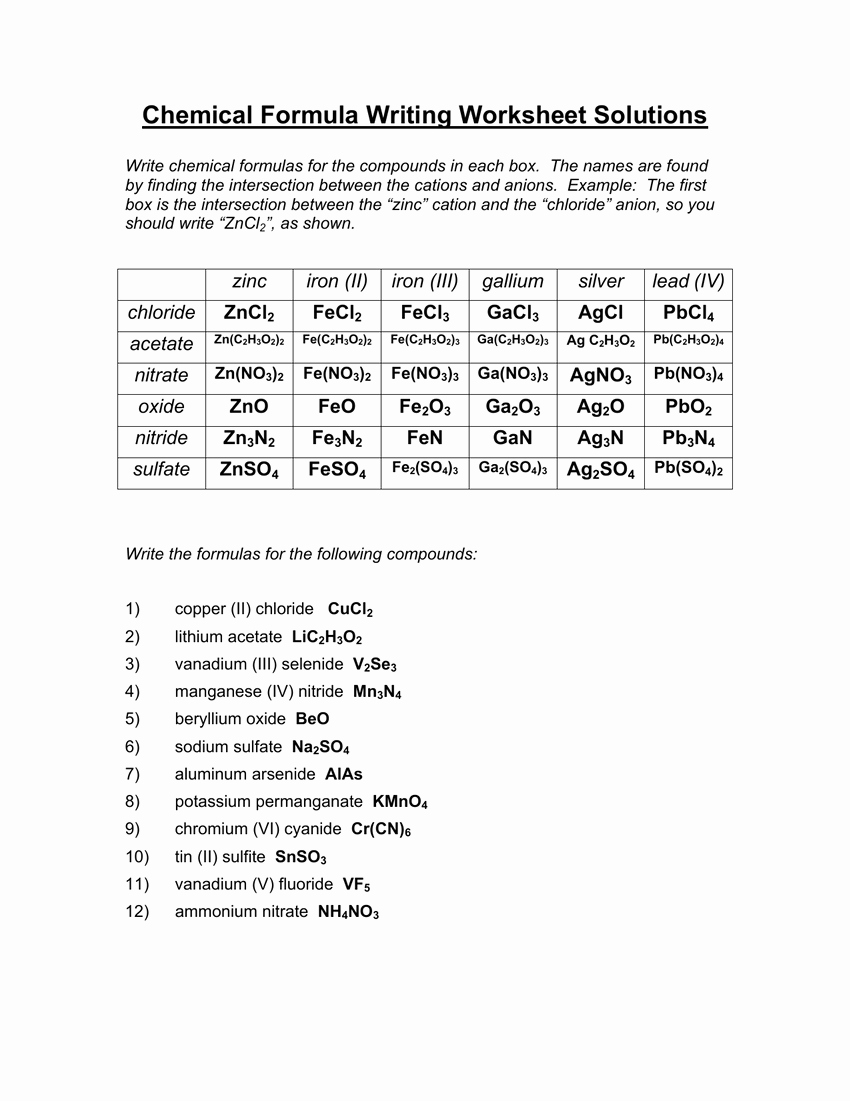 Chemical formula Worksheet Answers New Chemical formula Writing Worksheet Answers the Best