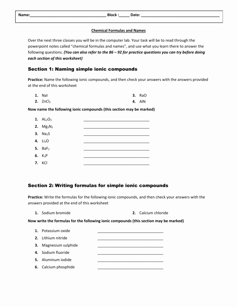Chemical formula Writing Worksheet Awesome Chemical formulas and Names Worksheet
