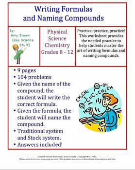Chemical formula Writing Worksheet Elegant Writing formulas and Naming Pounds Homework by Amy