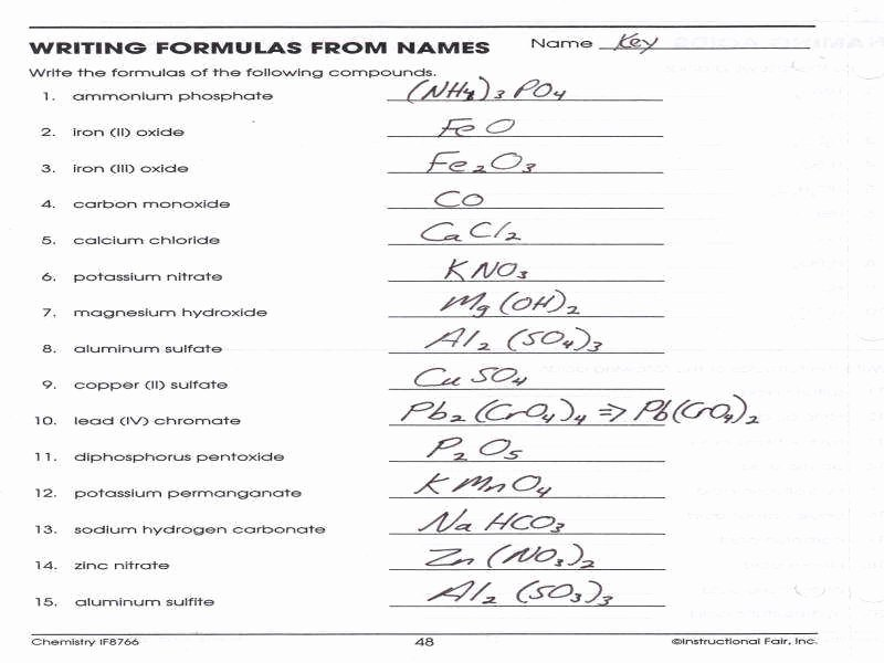 Chemical formula Writing Worksheet Unique Naming Ionic Pounds Practice Worksheet Answer Key