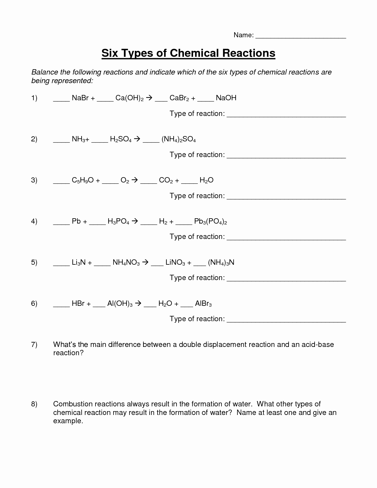 Chemical Reaction Type Worksheet Awesome 16 Best Of Types Chemical Reactions Worksheets