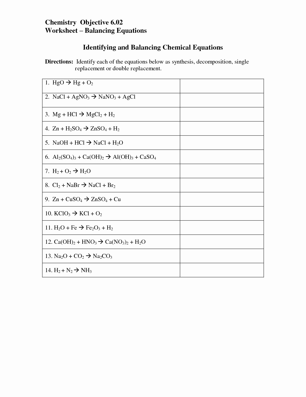Chemical Reaction Type Worksheet Beautiful 14 Best Of Chemical Reactions Worksheet Types