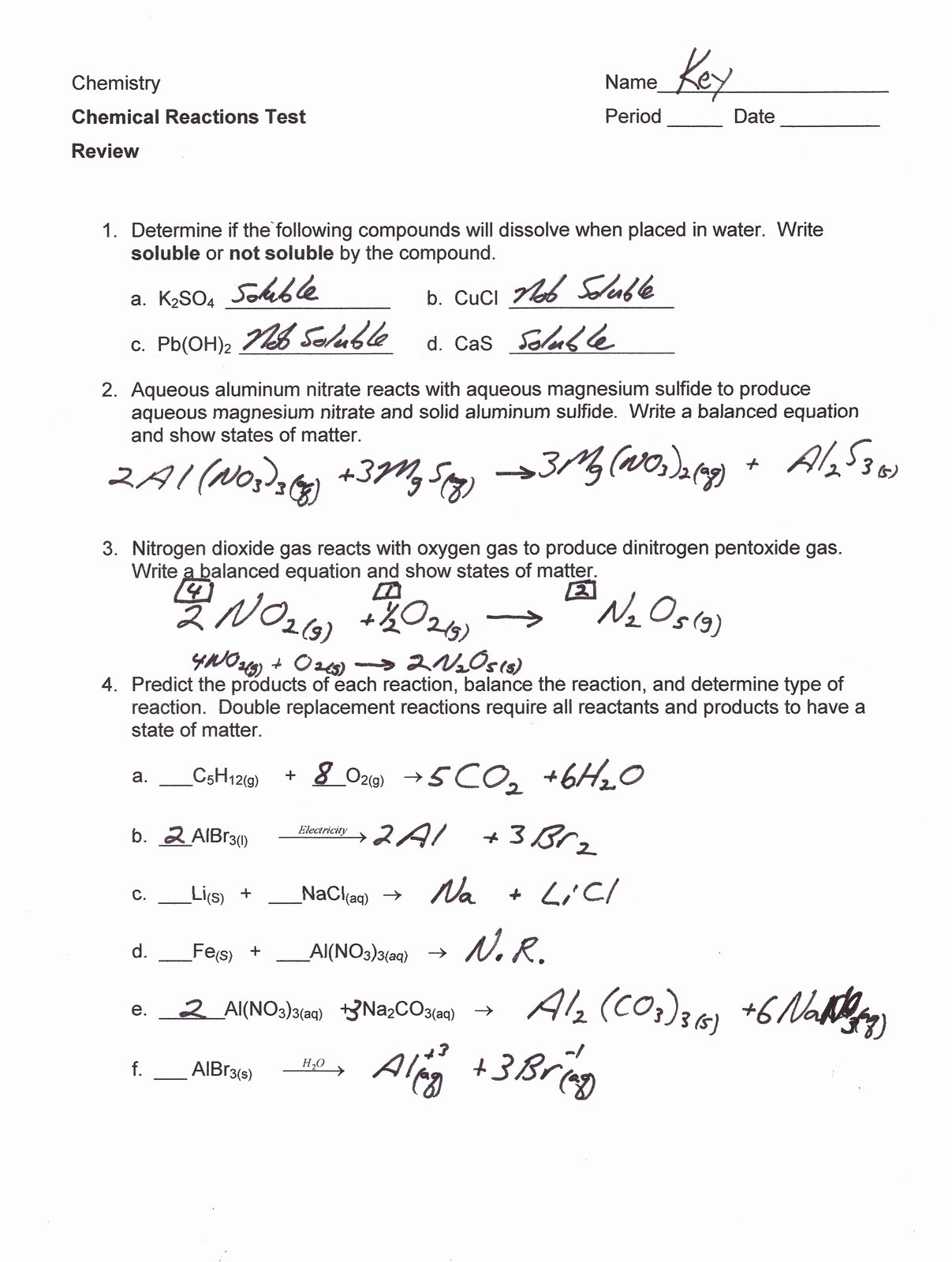 Chemical Reaction Type Worksheet Beautiful Mr Brueckner S Chemistry Class Hhs 2011 12 February 2012