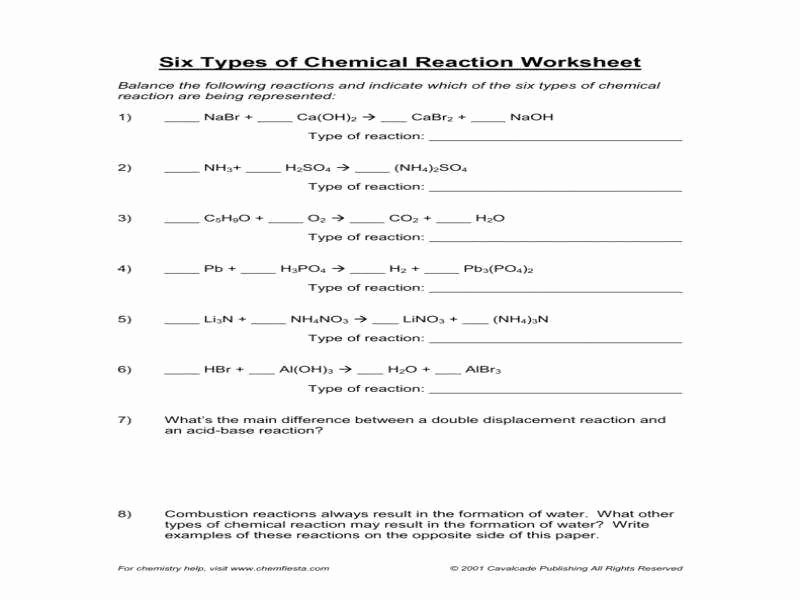 Chemical Reactions Types Worksheet Beautiful Types Chemical Reactions Worksheet Answers