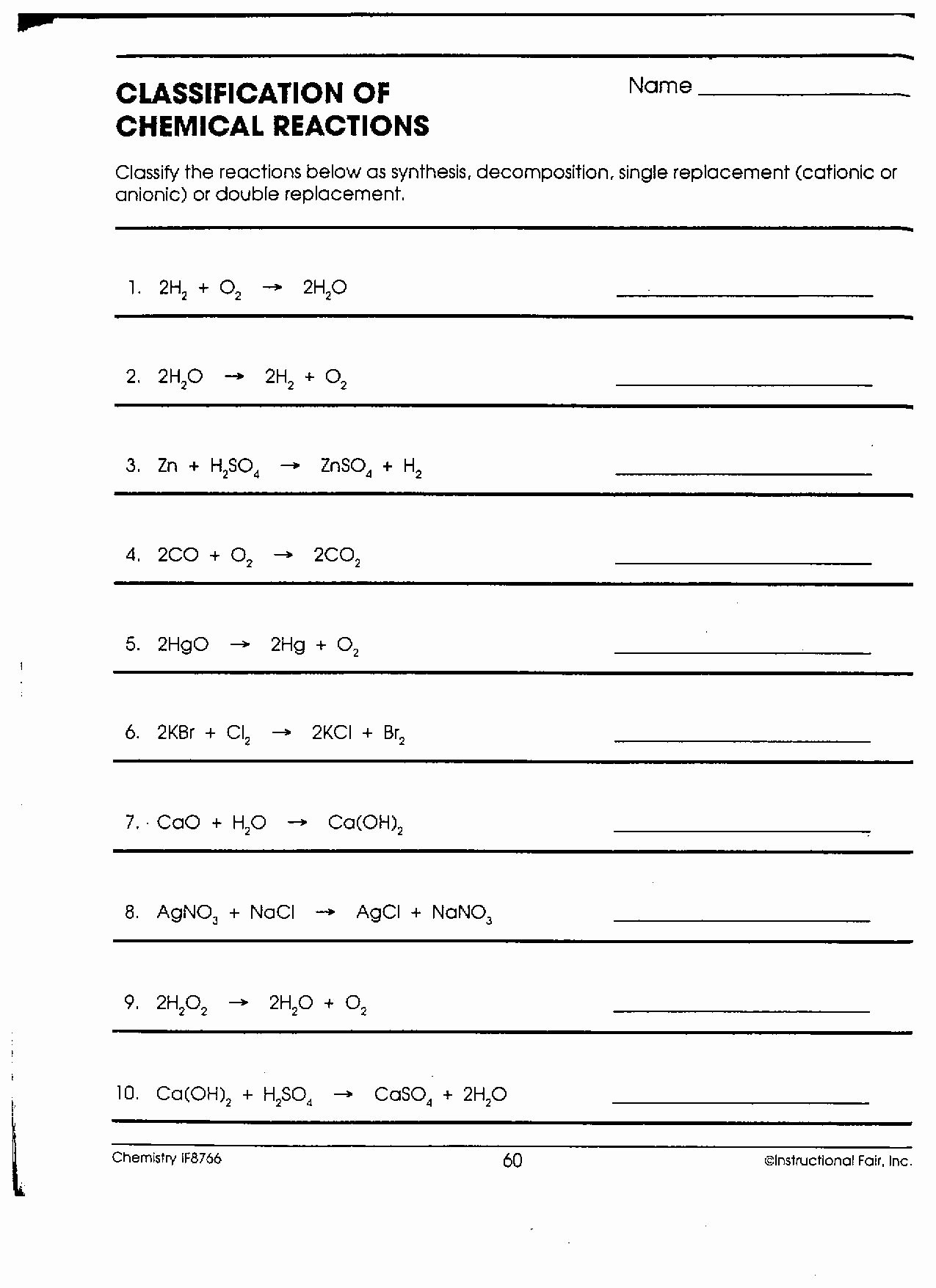 Chemical Reactions Types Worksheet New Chemistry Ia Mr Phelps Big Rapids Hs